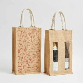 Two Bottle Printed Jute bags with and without window direct from an ethical manufacturer
